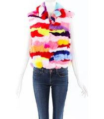 adrienne landau dyed rabbit fur vest
