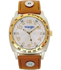 wrangler men's watch, 44mm ip grey cushion shaped case with gold bezel, silver dial with gold arabic numerals, brown strap rivets, gold second hand