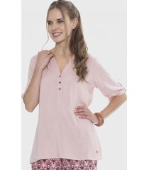 blusa manga corta con botones rosa curvi