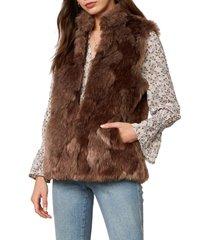 women's bb dakota fur what it's worth vest, size large - beige