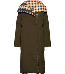 reversible padded coat gevoerde lange jas groen bobo choses
