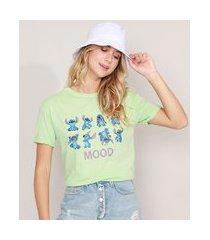 camiseta cropped de algodão lilo e stitch manga curta decote redondo verde claro