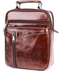 vintage vera pelle borsa a tracolla multitasche business borsa per uomo