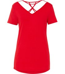maglia con fondo asimmetrico e fettucce (rosso) - bodyflirt