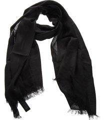 emporio armani black linen fringed scarf