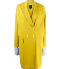jejia contrasting-cuff double-breasted coat - yellow