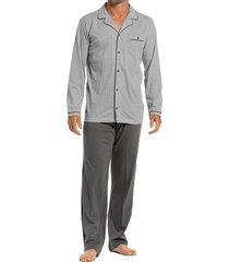 pastunette doorknoop pyjama jersey grijs
