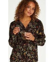 hunkemöller dragonfly  långärmad pyjamastopp svart