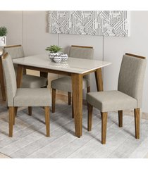 mesa de jantar 4 lugares jade ana 100% mdf ypê/off white - new ceval