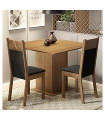 conjunto sala de jantar madesa drica mesa tampo de madeira com 2 cadeiras marrom