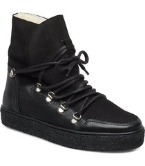 lola wool shoes boots ankle boots ankle boots flat heel svart pavement