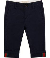 gucci blue pants with web details