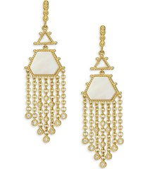 goldplated sterling silver & mother-of-pearl chandelier earrings