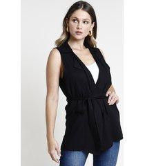 colete feminino alongado com amarração gola tailleur preto