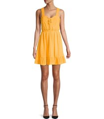betsey johnson women's embroidered crinkle blouson dress - golden creme - size s