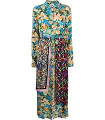 m missoni silk patch-work maxi dress - blue