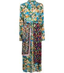 m missoni silk patch-work maxi dress - blue