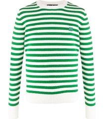 acne studios suéter decote careca com listras - verde