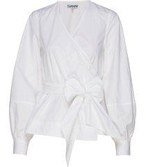 cotton poplin wrap shirt overhemd met lange mouwen wit ganni