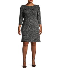 plus balloon-sleeve leopard jacquard dress