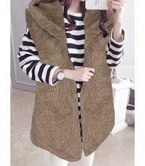 celmia con capucha diseño chaleco sin mangas de polar