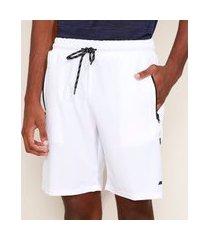 bermuda masculina esportiva ace com cordão e bolsos branca