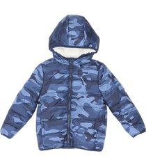 parka sherpa bebo azul militar corona