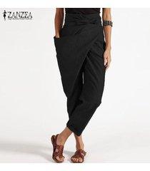 zanzea cremallera de las mujeres de la correa harem pantalón casual de las señoras tamaño holgados pantalones irregular plus -negro