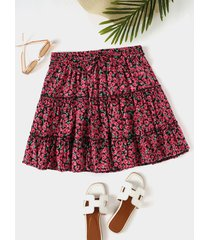 minifalda de gasa con dobladillo con volantes y cintura alta calico