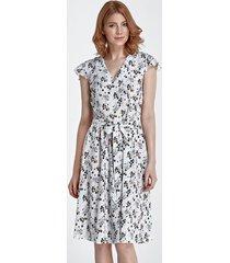 sukienka w kwiaty ecru