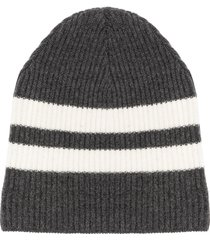 cashmere in love striped ribbed-knit beanie - grey