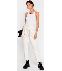womens seam you here before belted tapered pants - ecru