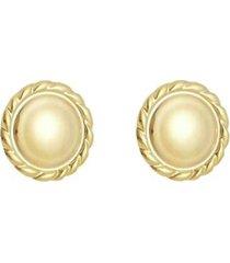 brinco piuka luany botão vintage folheado a ouro 18k. feminino - feminino