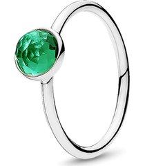 anel gota de cristal verde - maio