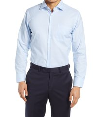men's big & tall nordstrom trim fit non-iron end on end dress shirt, size 15.5 - 36/37 - blue