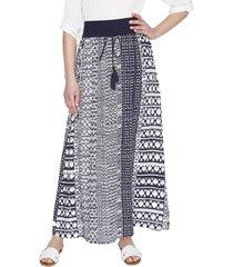 falda larga estampada azul curvi