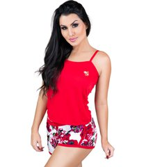 pijamas mvb modas curto adulto regata e short doll vermelho