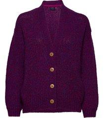 d1. multi yarn cardigan gebreide trui cardigan paars gant