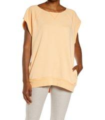 women's free people fp movement muscle tunic, size large - orange