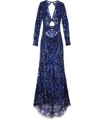 cobalt bugle bead art deco embellished dress