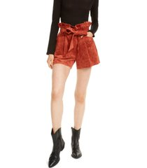 oat faux-suede paperbag shorts