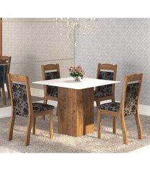 mesa de jantar 4 lugares brilho dover/cobre/branco - mobilarte móveis