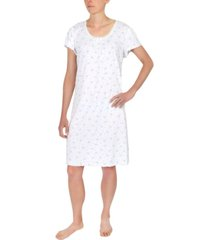 miss elaine floral-print cap-sleeve short nightgown