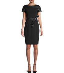 belted faux leather-trim sheath dress