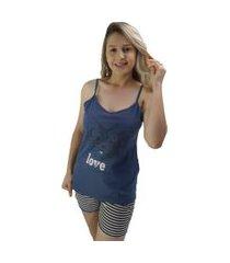 """pijama feminino """"love dog"""" azul escuro com listras"""