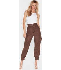 womens never belt this way high-waisted cargo pants - chocolate