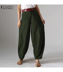 zanzea para mujer de la cremallera casual harem flojo señoras de los bolsillos del pantalón holgados pantalones largos -ejercito verde