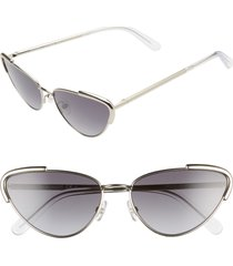 women's rebecca minkoff indio1 59mm cat eye sunglasses - palladium/ grey