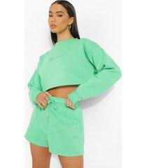 woman korte geborduurde sweater, green