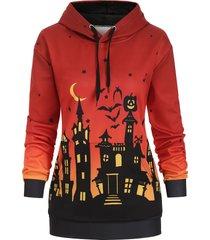bat pumpkin halloween night front pocket plus size hoodie